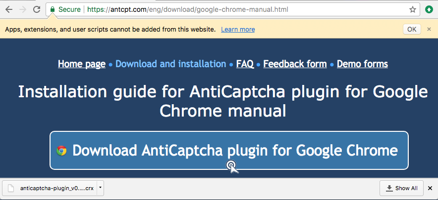 Install from CRX file | AntiCaptcha plugin solver