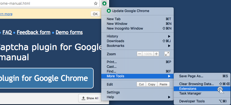 Open a main browser menu, then More tools and then click Extensions.
