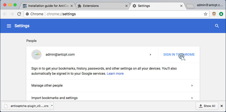 Chrome settings pannel with Sign in to Chrome button.