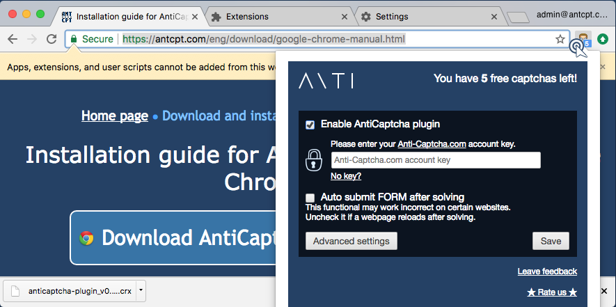 AntiCaptcha plugin settings window with free captchas info.