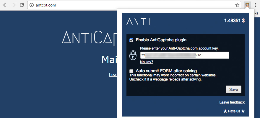 Installation guide for AntiCaptcha plugin for Google Chrome from